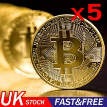 Bitcoin Collectible Coin BTC Gold Plated 1 Ounce 40mm Limit Collection
