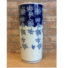 Blue and White Butterflies and Floral Ceramic Umbrella Stand