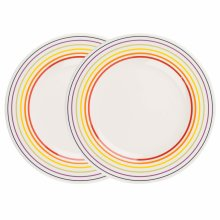 Bugatti 1109601 Large Rainbow Multicoloured Striped Edge Dinner Plates, 27 cm, Set of 2