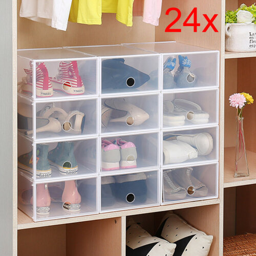 24 Foldable Clear Plastic Shoe Box Drawer Stackable Home Storage Box