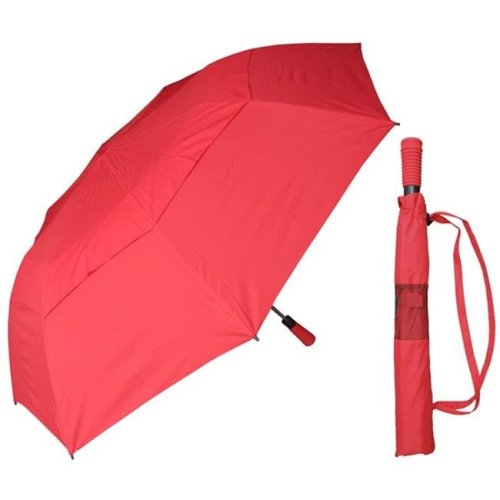 RainStoppers W019RED 56 in. Collapsible Sport Red Wind Buster Umbrella with Foam Handle, 6 Piece