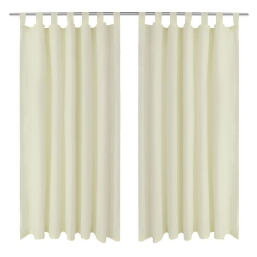 2 pcs Cream Micro-Satin Curtains with Loops 140 x 175 cm