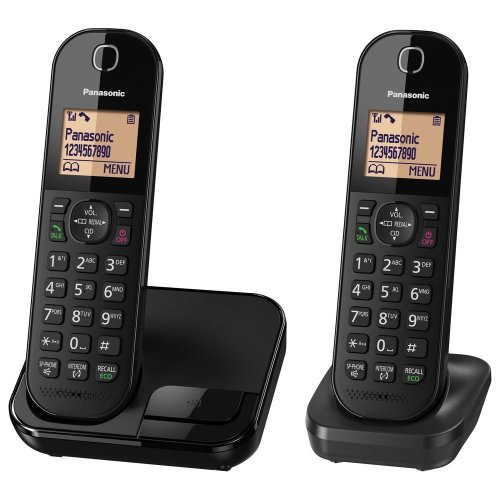 Panasonic KX-TGC412EB Digital Cordless Phone with Nuisance Call Blocker - Black (Pack of 2)