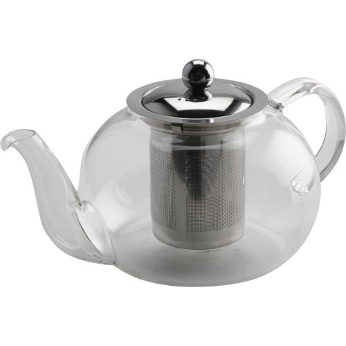 Kabalo 750ml Modern Contemporary Stylish Clear Glass & Stainless Steel Teapot with Loose Tea Leaf Infuser Kitchen Filter