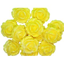 12 Glittered Coloured Roses Birthday Cupcake Toppers