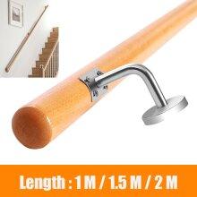 Oak Wooden Stair Handrail Banister Stainless Steel Brackets