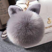 2019 Fur Pom Pom Keychains Fake Rabbit fur ball key chain porte clef pompom de fourrure fluffy Bag Charms bunny keychain Keyring