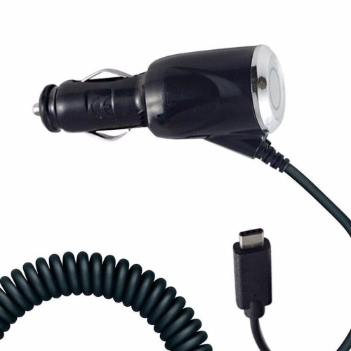 i-Tronixs - Black Coiled Cord Adapter (2000 mAh) Type-C Car Charger for Samsung Galaxy Feel2