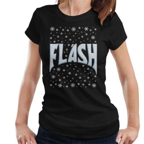(Small, Black) Flash Gordon Christmas Snow Title Women's T-Shirt