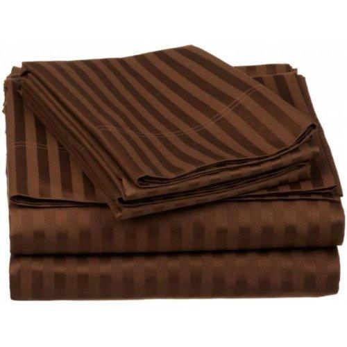 Egyptian Cotton 650 Thread Count Stripe Sheet Set  California King-Chocolate