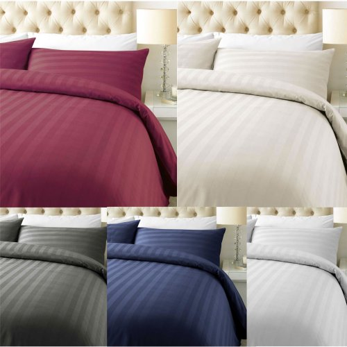 Luxury 800 Thread Count Duvet Cover with Pillowcase Cotton Rich Satin Stripe