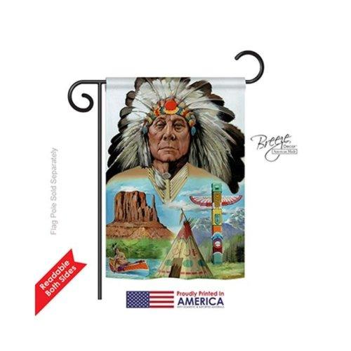 Breeze Decor 61064 Patriotic Native American 2-Sided Impression Garden Flag - 13 x 18.5 in.