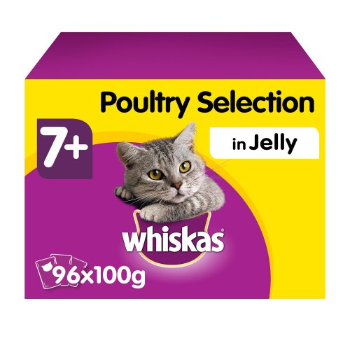 12 x 100g Whiskas 7+ Senior Wet Cat Food Pouches Mixed Poultry in Jelly