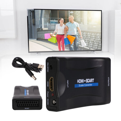 HDMI to SCART Adapter 1080P Video Audio Upscale Converter USB Cable