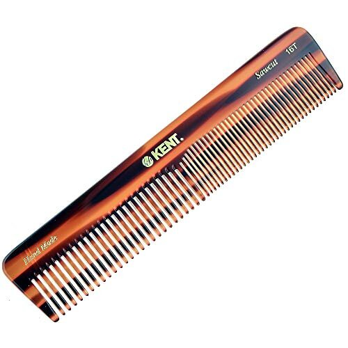Kent 16T Handmade coarse and Fine Toothed Dressing grooming and Styling comb for Men and Women 7 185mm Wet or Dry Hair Pocket Travel and Daily Use