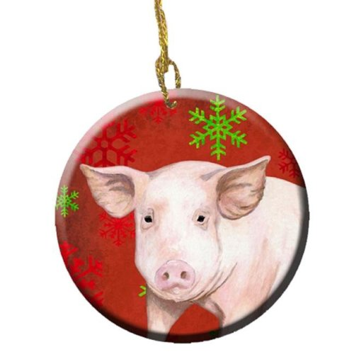 Pig Red Snowflakes Holiday Christmas Ceramic Ornament, 2.81 Dia
