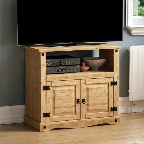 Corona 2 Door 1 Shelf Straight TV Unit Stand Cabinet Cupboard Pine