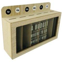 Money Box Coin Organiser Wooden Sorter Saver Storage 30cm