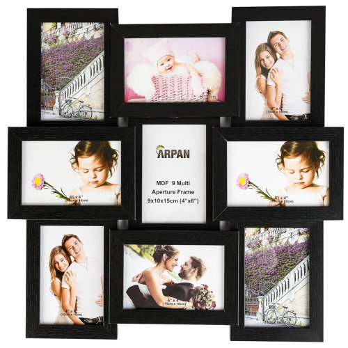 """MDF Multi Aperture Picture Photo Frame, Holds 9 Photos for 4x6"""""""