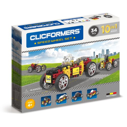 Clicformers Speed Wheel Set 10 in 1 Vehicles 32 Pieces Construction and Building Toy Set Ages 4 Years + Multi Colour