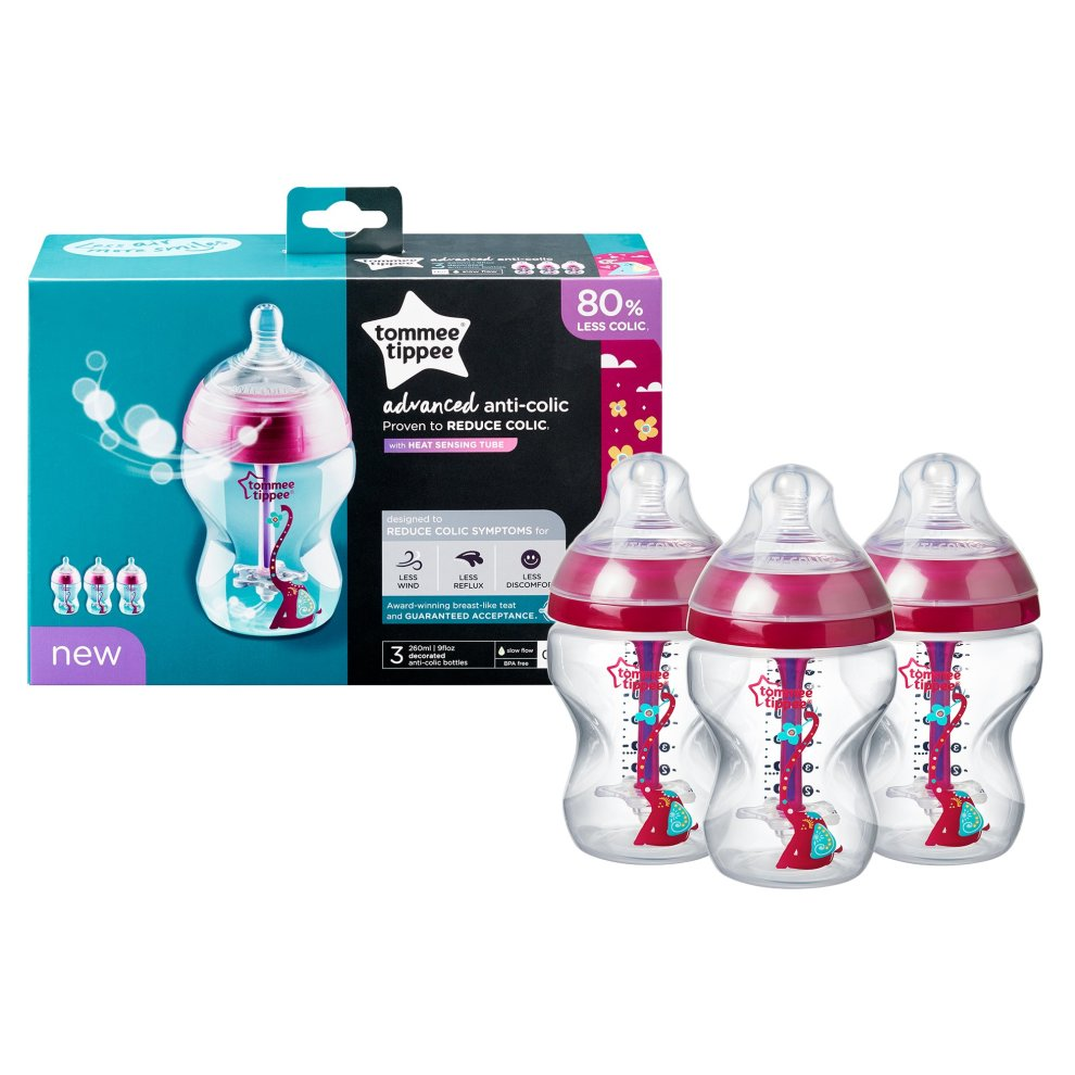 260 ml Tommee Tippee Decorated Advanced Anti-Colic Bottles 3 Count