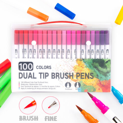 100 Colour Dual Tip Brush Pens Colouring Art Markers Drawing UK