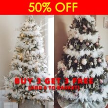 6Pcs 2M Christmas Tree White Feather Xmas Ribbon Boa Strip Garland Party Decor
