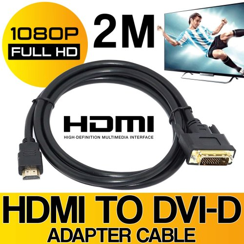 DVI-D to HDMI Adapter Connector Cable Lead 2M Gold Plated Full HD