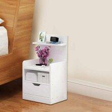Fashion Bedside Table Drawer Cabinet Bedroom Furniture Storage Nightstand Shelf