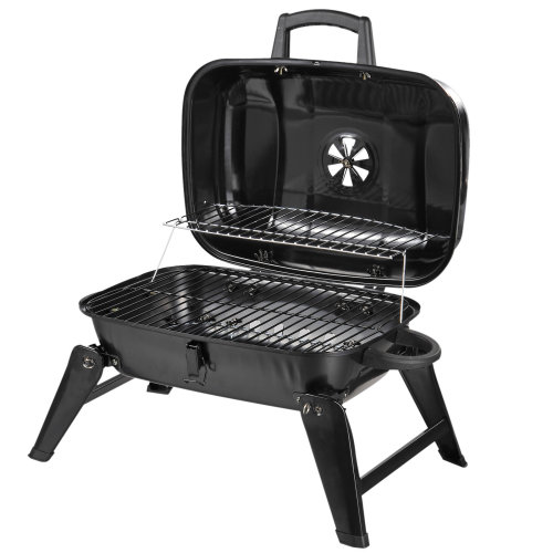 Outsunny  Portable Charcoal  Barbecue BBQ Grill Compact Fodling Camping Picnic Garden Party Festival Cooker Table Top with Chrome Grid
