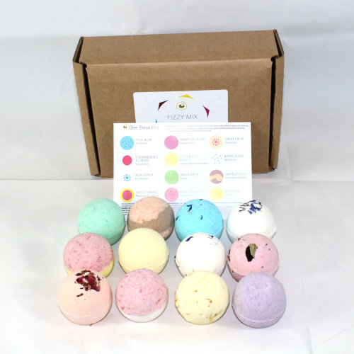 Bee Beautiful 12pc Reduced Plastic Fizzy Bath Bombs Gift Set - 12 x 65g