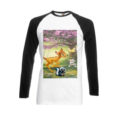 Bambi Rabbit Cute Forest Black/White Men Women Unisex Long Sleeve Baseball T Shirt