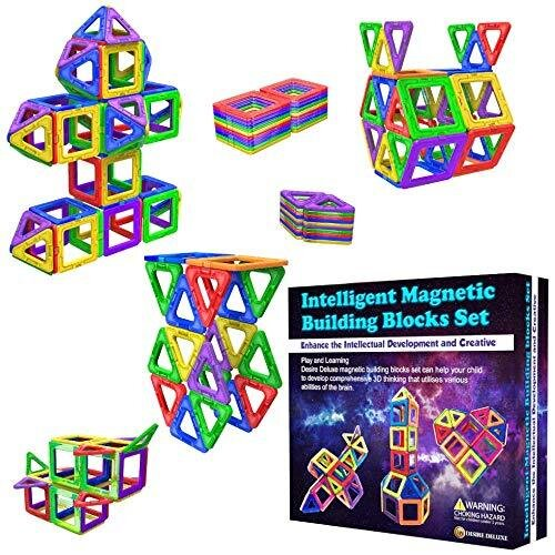 Desire Deluxe Magnetic Building Blocks 40pc Construction Toys Set for Kids Game | STEM Creativity Educational Magnets Toy Blocks for Boys Girls Age
