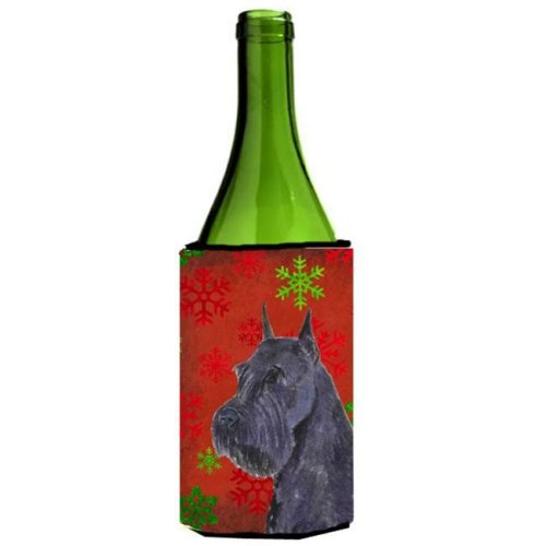 Schnauzer Red And Green Snowflakes Holiday Christmas Wine bottle sleeve - 24 oz.