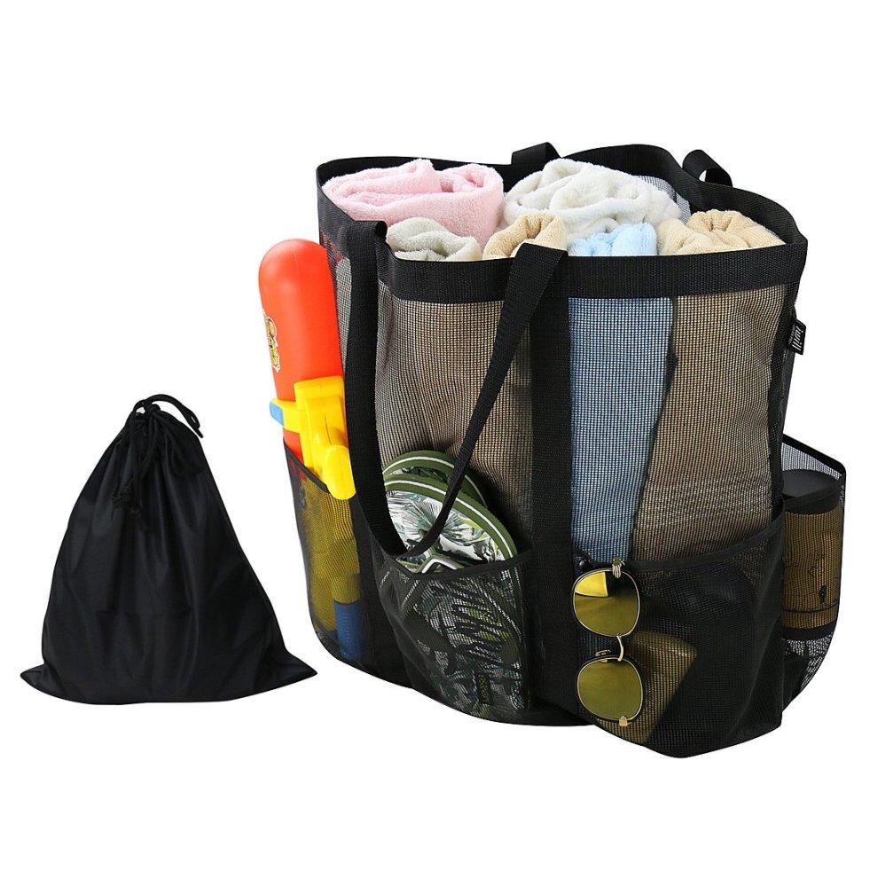 Large Mesh Beach Tote Bag Sand... Carabiner Drawstring Bag with 6 Pockets