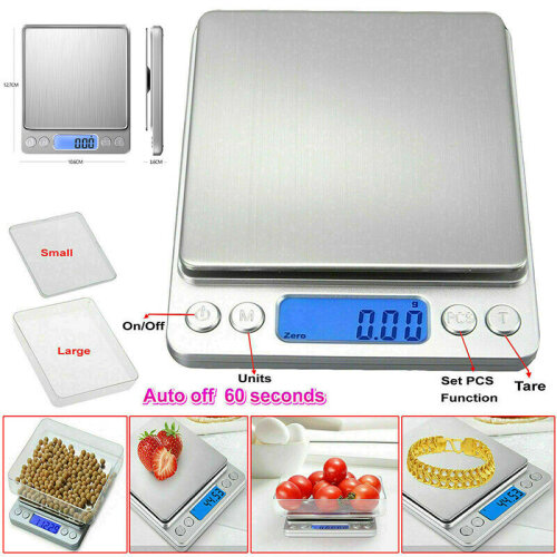 0.1g - 3000g Kitchen Scales Digital Electronic LCD Baking Food Weighing Scale