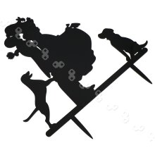 Wedding Party Cake Topper Couple & Dogs Black Acrylic Silhouette Decor Favours