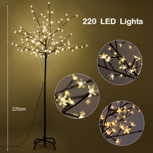 Warm White LED Lights Christmas Xmas Cherry Blossom Tree Indoor Or Outdoor Decor