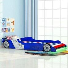 vidaXL Children's LED Race Car Bed Blue Kids Toddler Home Furniture Cot Crib