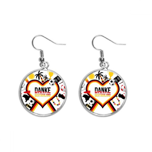 Germany Football Flag Culture Pattern Ear Dangle Silver Drop Earring Jewelry Woman