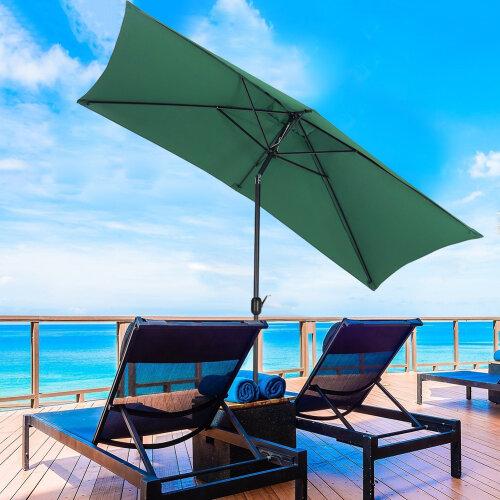 (Green, No Base) Rectangle Garden Parasols Outdoor Patio Umbrellas Canopy