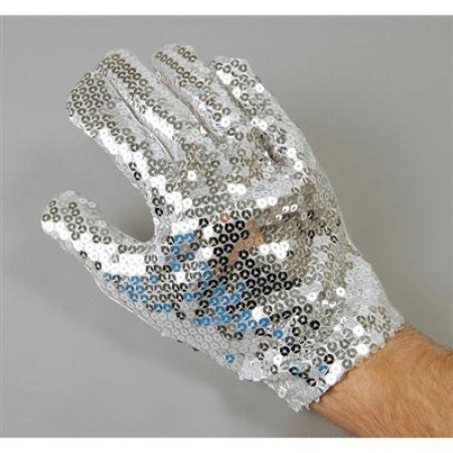 Silver Adult's Sequin Glove -  sequin glove fancy dress accessory costume adult jackson