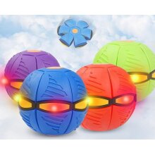 2020 Flat Deformation Ball Flying Saucer Shape Glowing Toy Outdoor Bouncing Ball With Light Rebound Bouncing Ball Outdoor Toy