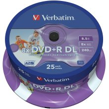 Verbatim 8.5GB 8x Double Layer DVD+R Inkjet Printable-25 Pack Spindle
