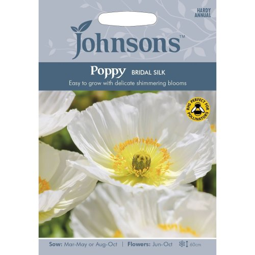 Johnsons Seeds - Pictorial Pack - Flower - Poppy Bridal Silk - 500 Seeds