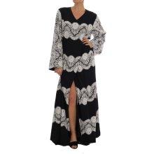 Dolce & Gabbana Black Silk Floral Lace Kaftan Dress