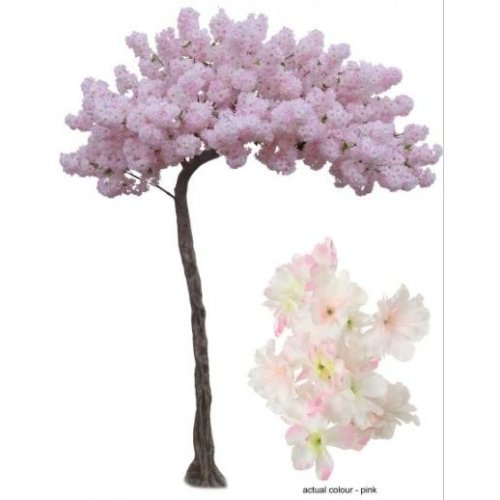 (Pink) Artificial Silk Curved Cherry Blossom Bespoke Tree