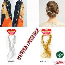 2mm Metallic Soutache Braid Cord Trim Glossy Gold & Silver – 15 Meters