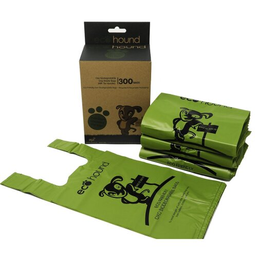 Ecohound 300 Large Dog Waste Bags In Dispenser Box Easy Tie Handles