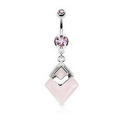 Butterfly Shield Top Drop Belly Bar ~ 10mm ~ Pink Crystals